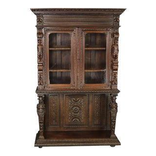 Bookcase Antique French Renaissance 1880 Heavily For Sale
