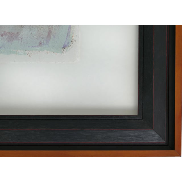 Large Framed Abstract Diptych Signed Acrylic Painting on Paper Dated 2014 For Sale - Image 11 of 13