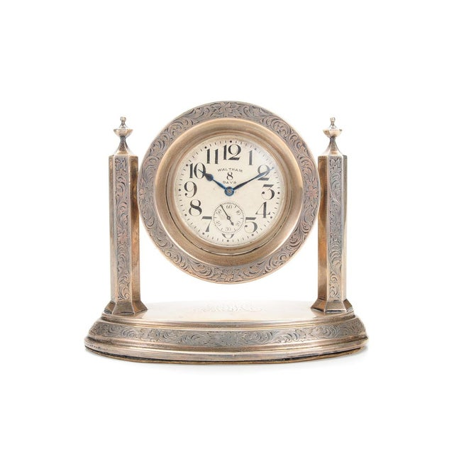 Waltham 8 Days Desk Clock With Sterling Stand - Image 1 of 9