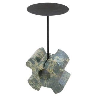 Diabase Volcanic Rock Wheel Side Table, Unique Hand Sculpted, Rooms For Sale