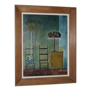 """Randall Davey (American, 1887-1964) """"Potted Plant"""" Oil and Collage on Masonite C.1950s For Sale"""