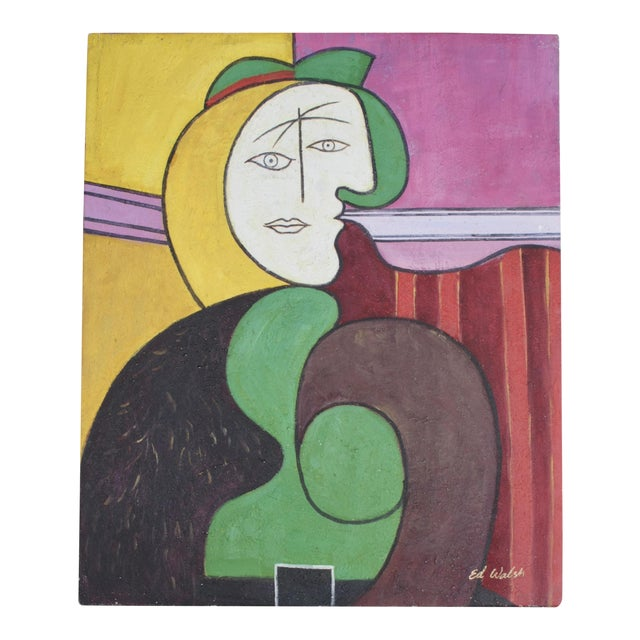 "Reproduction of Picasso's ""The Red Armchair"" Original Signed Painting - Image 1 of 6"