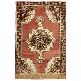 20th Century Rustic Turkish Oushak Accent Rug - 4′5″ × 6′9″ For Sale