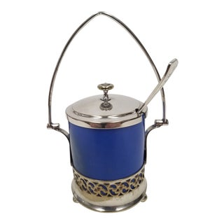 Antique English Silver Plate Jam or Condiment Server With Blue Jar and a Spoon For Sale