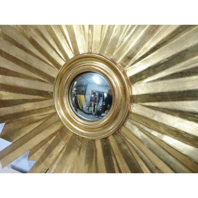 Art Deco Hollywood Regency Gold Gilt Sunburst Carved Mirror For Sale - Image 3 of 6