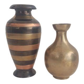 Set of 2- Vintage Rosenthal Netter Brass & Mixed Metal Bulbous Vases For Sale