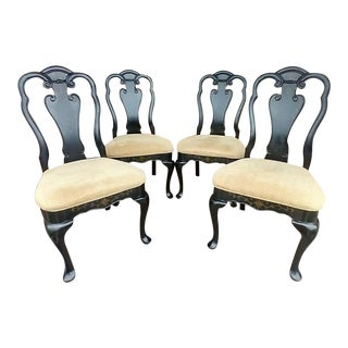 Late 20th Century Black Queen Anne Dining Room Side Chairs - Set of 4 For Sale