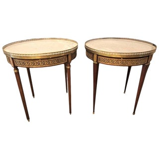Pair of Marble-Top Greek Key Bouiliotte Tables / End Mahogany Double Drawers For Sale
