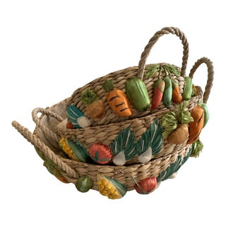 Natural Woven Serving Baskets Set of Three For Sale
