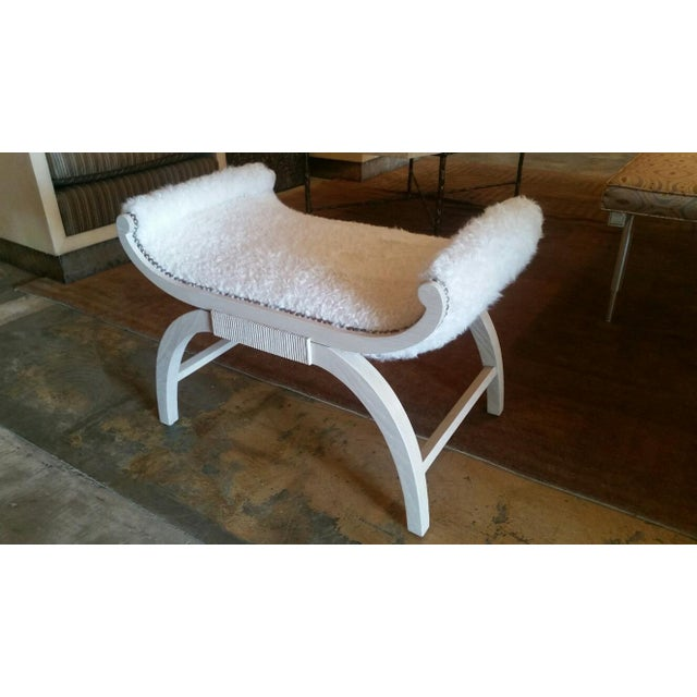 Customizable Paul Marra Neoclassical Bench in Curly Goat - Image 7 of 8