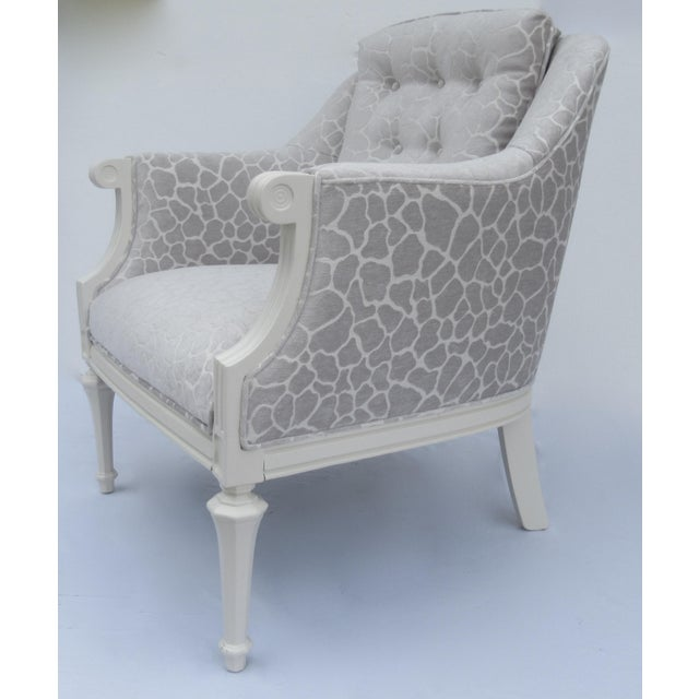 Final Markdown -Dorothy Draper Hollywood Regency Club Chair With Giraffe Chenille For Sale In West Palm - Image 6 of 13