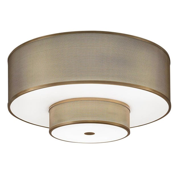 Mid-Century Modern Golden Bronze Two Layer Flush Mount Light For Sale - Image 3 of 3