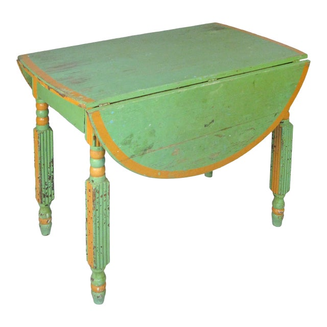 Antique 1920s Hand Painted Drop-Leaf Dining Table For Sale