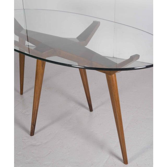 S Mid Century Modern Pierluigi Giordani Walnut Oval Glass Top - Mid century modern glass top dining table