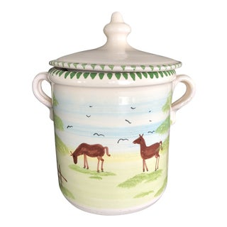 Vintage Handpainted Horse Stoneware Cookie Jar For Sale