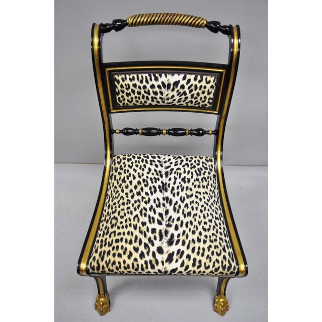 Black Black and Gold Regency Style Paw Feet Dining Chairs - Set of 6 For Sale - Image 8 of 12