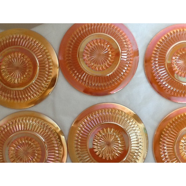 Marigold Iridized Carnival Glass Plates - Set of 6 For Sale - Image 4 of 6