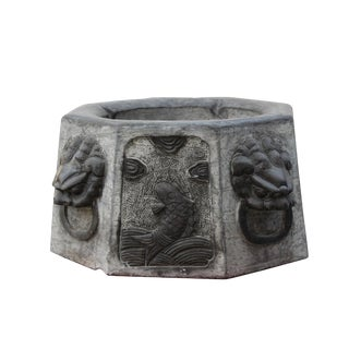 Chinese Vintage Octagon Stone Carved Garden Base Art For Sale