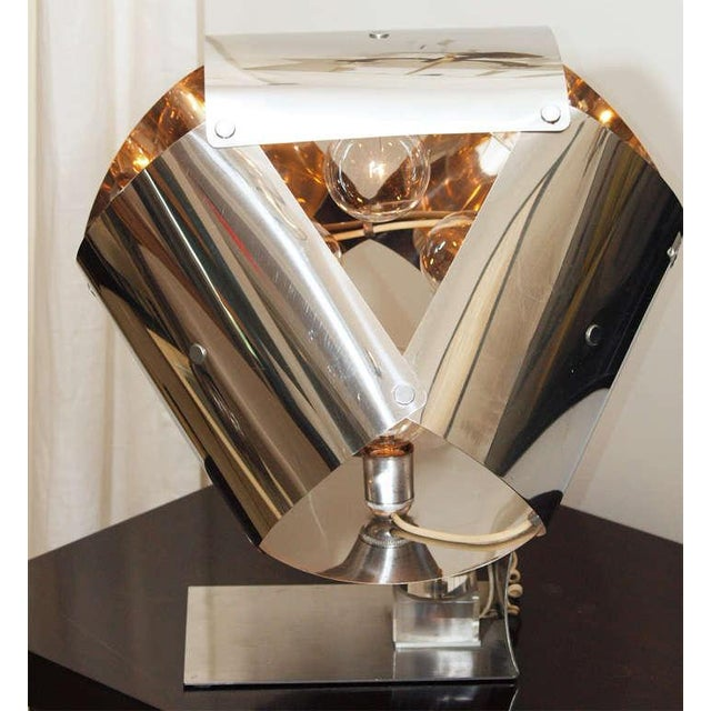 Chromed Metal Sculptural Table Lamp - Image 9 of 11