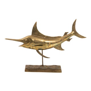 Sail Fish Sculpture in Brass For Sale