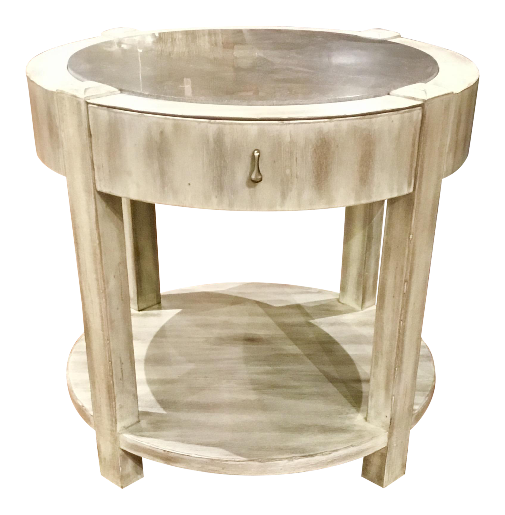 Drexel Heritage Jule Off White Antique Wood U0026 Stone Top Round End Table  Pair Available