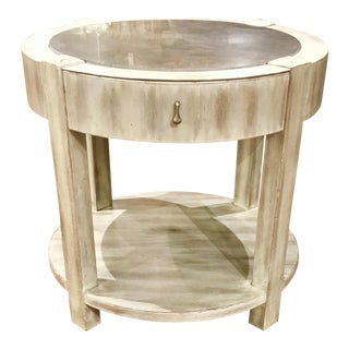 Drexel Heritage Modern Off-White Antique Wood & Stone Top Round Jule End Table For Sale