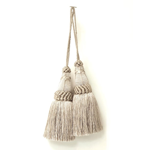 Pair of Key Tassels in Pewter With Looped Ruche Trim For Sale - Image 11 of 11
