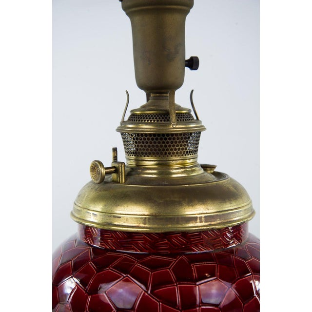 Red 19th C. Victorian Style Bradley & Hubbard Converted Oil Lamp For Sale - Image 8 of 12