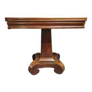 Antique Empire Style Flip Top Mahogany Game Table For Sale