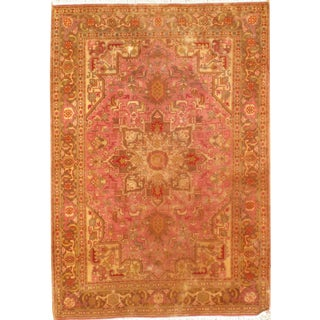 "Pasargad N Y Persian Tabriz Heriz Design Silk & Wool Pile Rug - 3'4"" X 4'10"" For Sale"