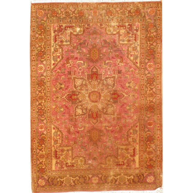 """Pasargad N Y Persian Tabriz Heriz Design Silk & Wool Pile Rug - 3'4"""" X 4'10"""" For Sale"""