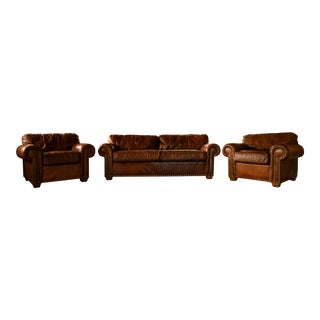 1990s Traditional Wesley Hall Furniture 3-Piece Leather Sofa Set