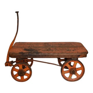 Antique United States Mint Iron Bullion Cart Coffee Table, Side Table For Sale