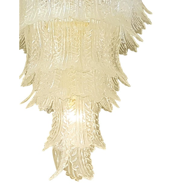 Barovier & Toso XL Barovier e Toso mid-century modern clear Murano glass leaves chandelier For Sale - Image 4 of 5