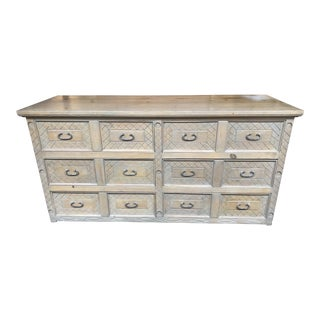 Rustic Style Gray Solid Wood Six Drawer Dresser