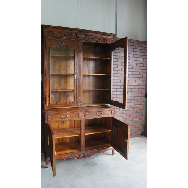 Brown French Provincial Display Cabinet Hutch For Sale - Image 8 of 11