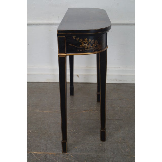 Hand Painted Chinoiserie Demilune Console Table - Image 3 of 10