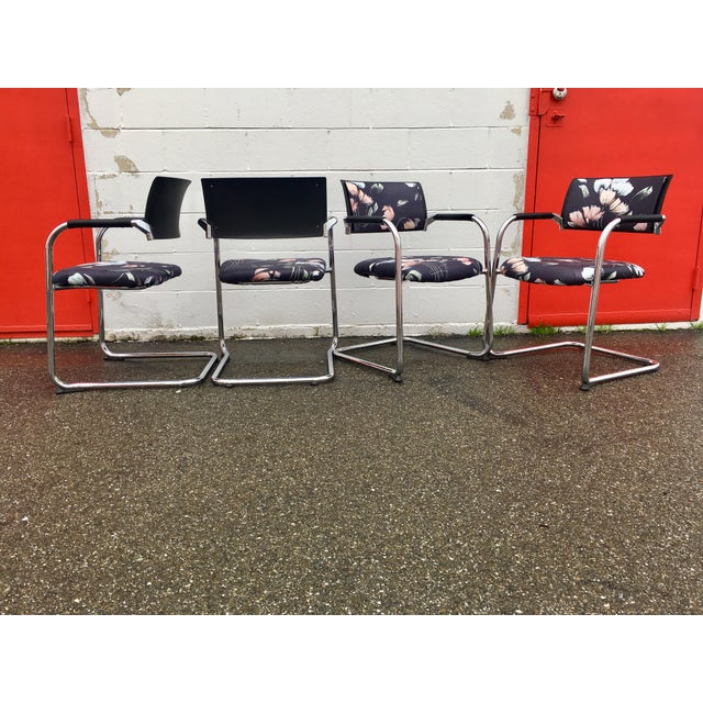 Contemporary Vintage Mid Century Bent Chrome Tube Newly Upholstered Armchairs- Set of 4 For Sale - Image 3 of 12