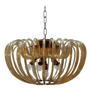 Murano crystal chandelier with 36 curved glass. Italy 1960