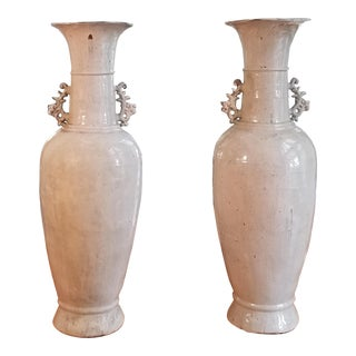 Modern Asian Style Floor Vases- A Pair For Sale