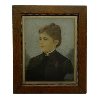 "1930s Vintage ""Buttoned Up Lady"" Wood Framed Print For Sale"