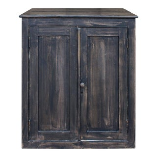 Vintage Wood Bar Cabinet in Black Wash Painted Finish For Sale