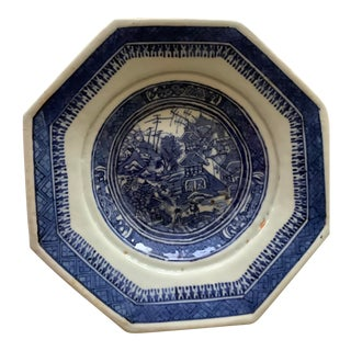 Antique 19th Century Chinese Canton Hexagonal Dish For Sale