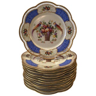 1920s Bavarian Reticulated Birds and Flowers Dinner Plates - Set of 12 For Sale