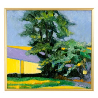 Yellow & Green Impressionist Oil on Panel For Sale