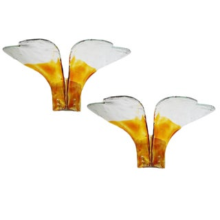 Italian Amber Glass Heart Sconces by Carlo Nason - a Pair For Sale