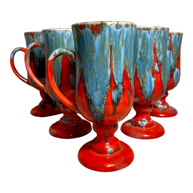 1970s Vintage Hand-Crafted Blue & Red Drip Glaze Ceramic Pottery Footed Mugs- Set of 6 For Sale