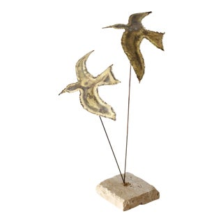 Vintage Brass Seagull Sculpture Brutalist Birds Mid Century For Sale