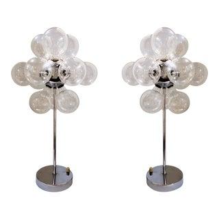 Modern Chrome Sputnik Style Bubble Glass Globe Lamps Att. To Tsao Designs, Pair