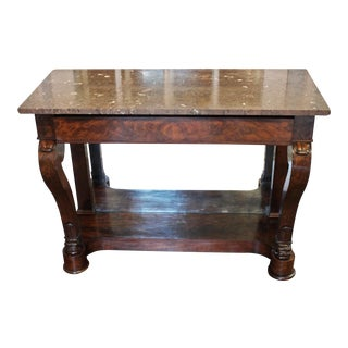 19th Century French Louis Philippe Marble Top Console For Sale